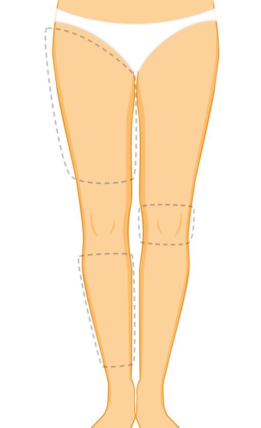 Abnehmen des inneren Teils des Oberschenkels